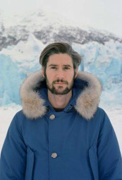 Woolrich heren blauwe winterjas met bont