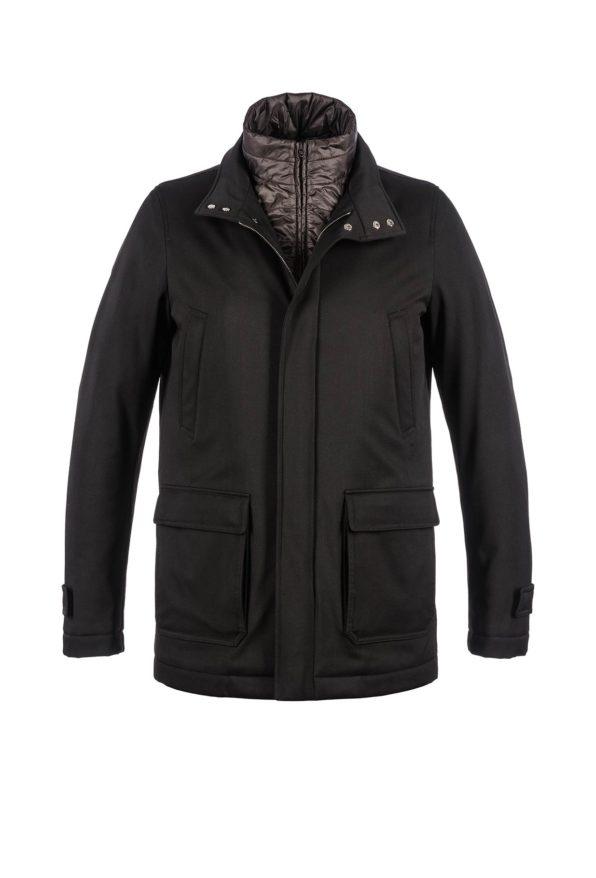 Herno heren zwart gewatteerde jas